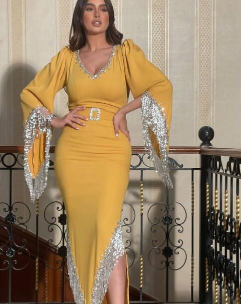 tassel evening dresses long beaded mermaid dubai arabic v neck yellow modest