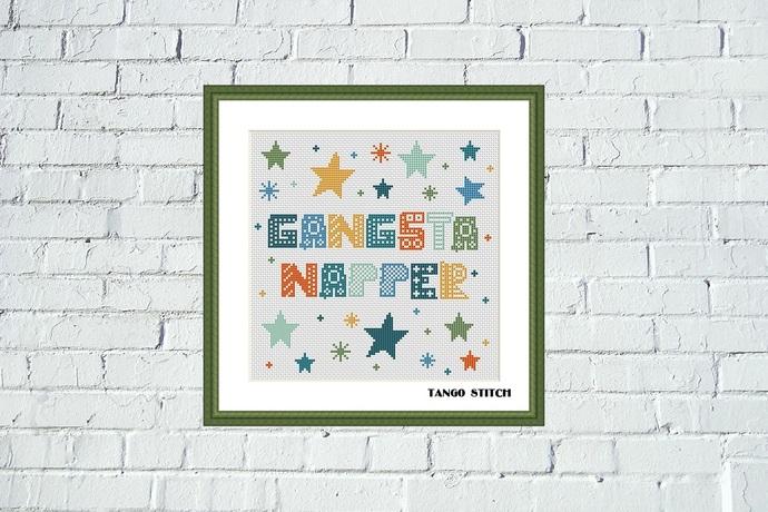 Gangsta Napper nursery funny cross stitch pattern