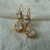 vintage Nolan Miller gold clear cz crystals pear drop pierced earrings stamped