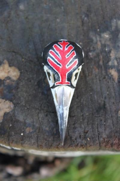 Painted Great Spotted Woodpecker Skull (Dendrocopos major) Animal Totem