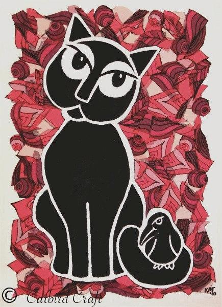 Greeting Card The Cat and The Bird for UK Charity Celia Hammond Animal Trust
