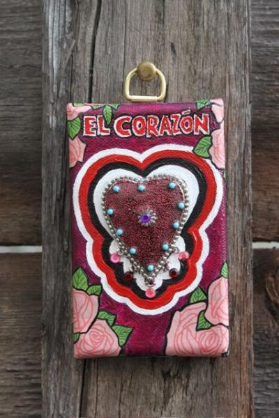 El Corazon mini original mixed media painting Hearts and Flowers