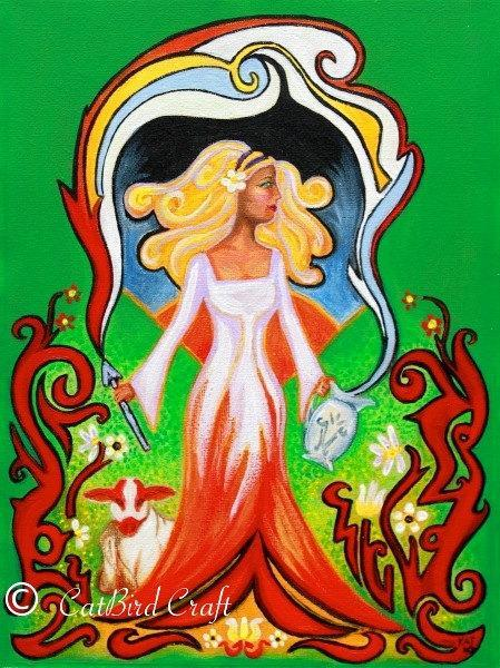 Greeting Card Imbolc Spring from an Original Painting