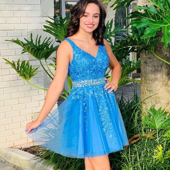 Newest V-Neck Appliques A-Line Homecoming Dresses,Short Prom Dresses,Cheap