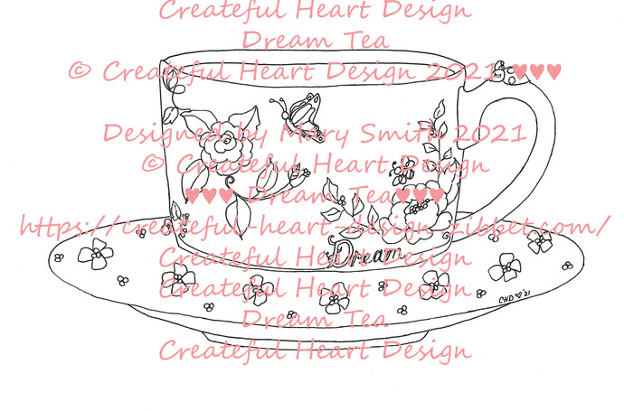 Dream Tea - Tea Cup, floral, Image, outlined, craft supply