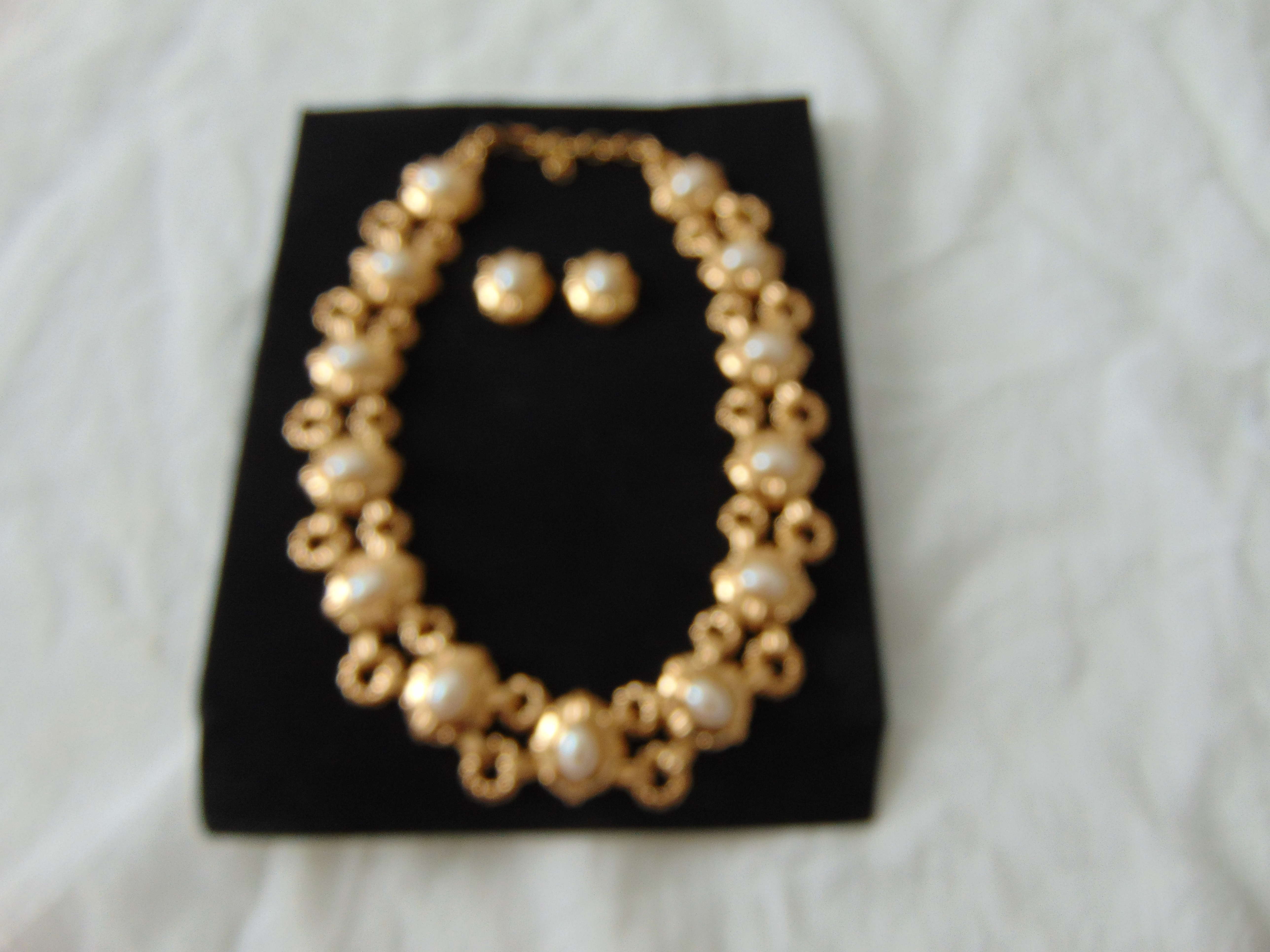 vintage Monet signed gold pearl necklace earring set mint nos demi parure