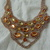 vintage citrine topaz clear crystals bib necklace mint nos