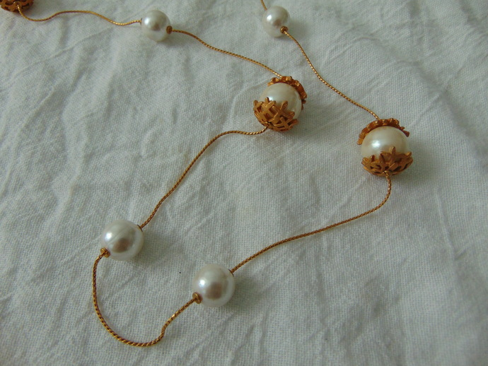 vintage Anne Klein signed gold capped pearl stations long necklace mint