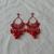 vintage red crystals enamel chandelier earrings pierced big