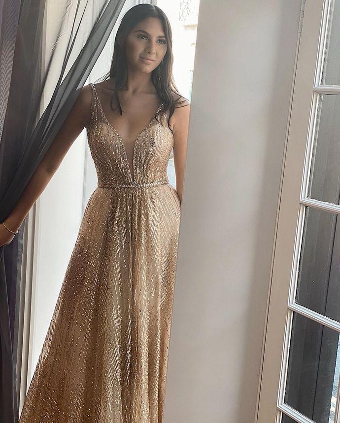 Sexy V-Neck Backless A-Line Prom Dresses Long Prom Dresses,Cheap Prom Dresses,