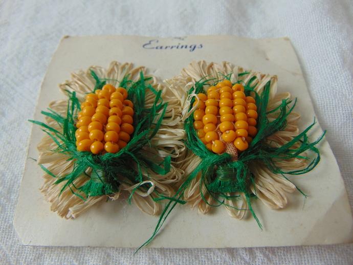 vintage corn cob clip on earrings yellow seed beads green beige raffia on card