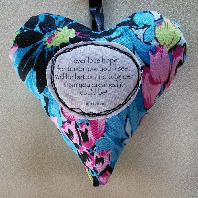 Fabric Poem Heart - Never Lose Hope