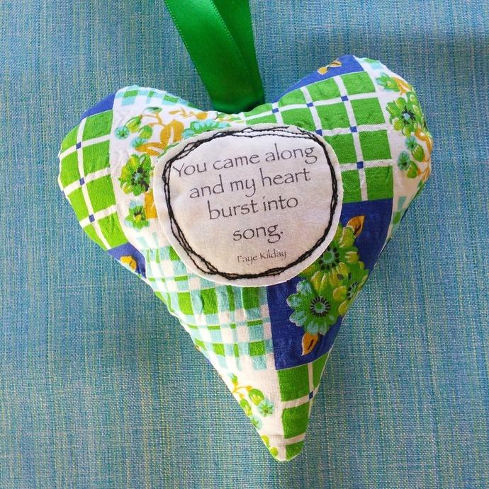 Fabric Poem Heart - Heart Song