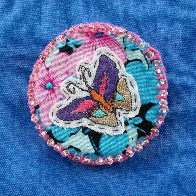 Fabric Art Brooch - Butterfly and Beads