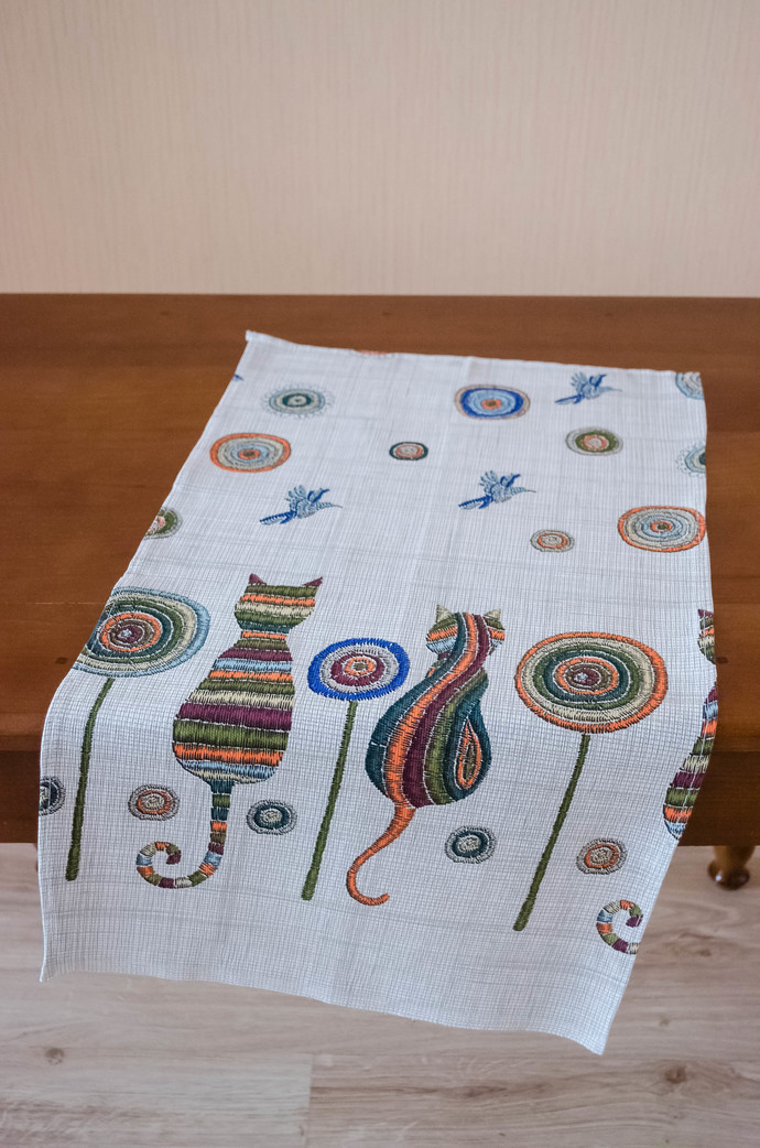 Kitchen Towel cotton 100% with Cats Print. Cotton Rich Linen. Gift for Mom. Gift