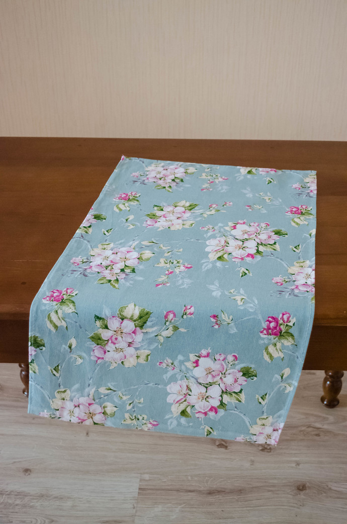 Kitchen Towel cotton 100% with Pink Flowers on Grey Print. Cotton Rich Linen.