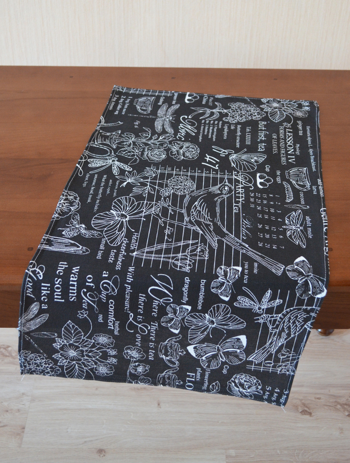 Kitchen Towel cotton 100% with Black and White Print. Cotton Rich Linen. Gift