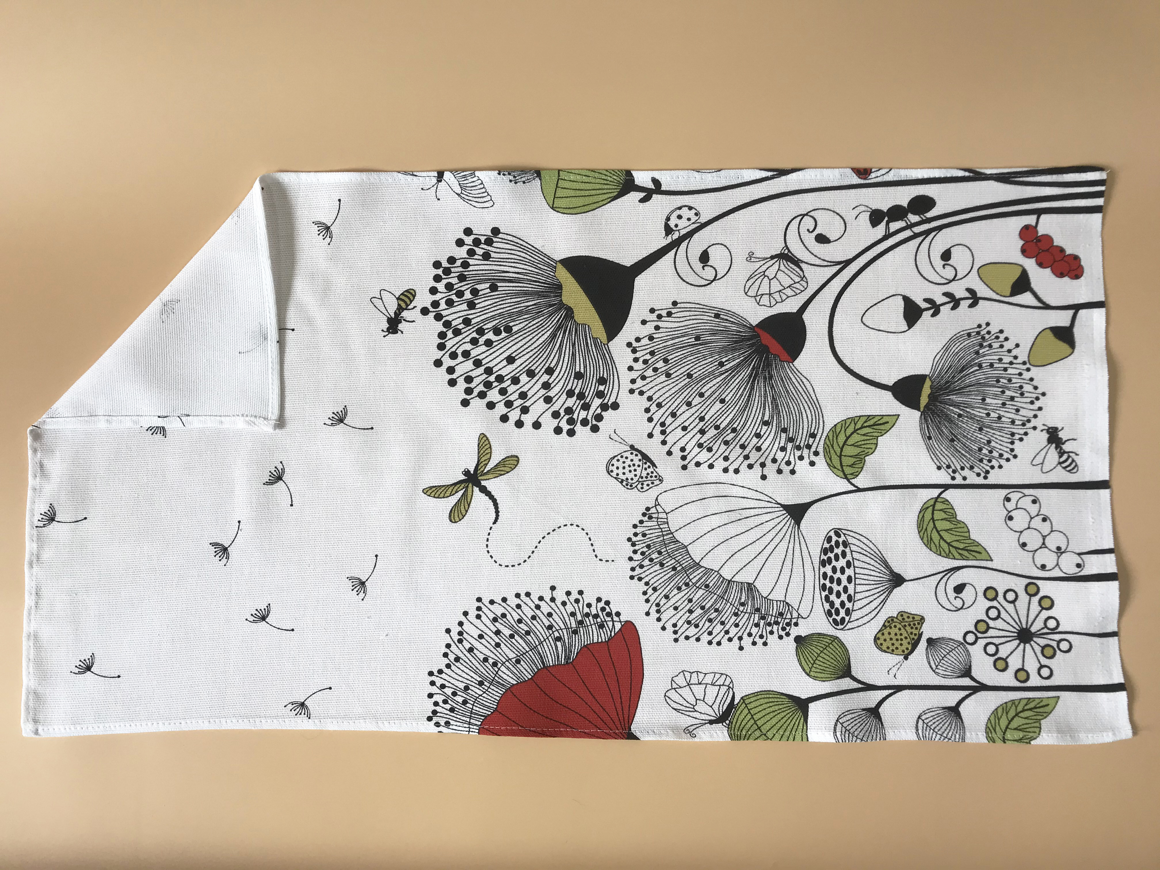 Kitchen Towel cotton 100% with Dandelions Print. Cotton Rich Linen. Gift for