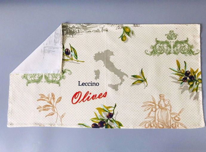 Kitchen Towel cotton 100% with Olive Print. Cotton Rich Linen. Gift for Mom.
