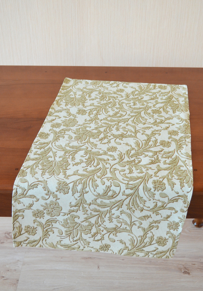 Kitchen Towel cotton 100% with Beige Baroque Print. Cotton Rich Linen. Gift for