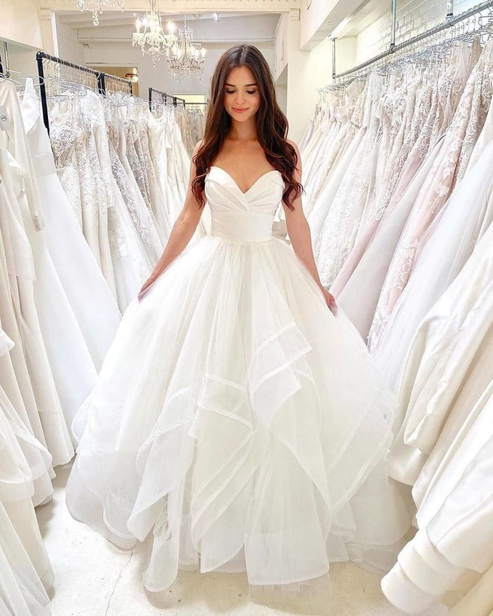 Romantic Wedding Dress,Tulle Prom Gown,Sweetheart Evening Dress,A-Line Prom Gown