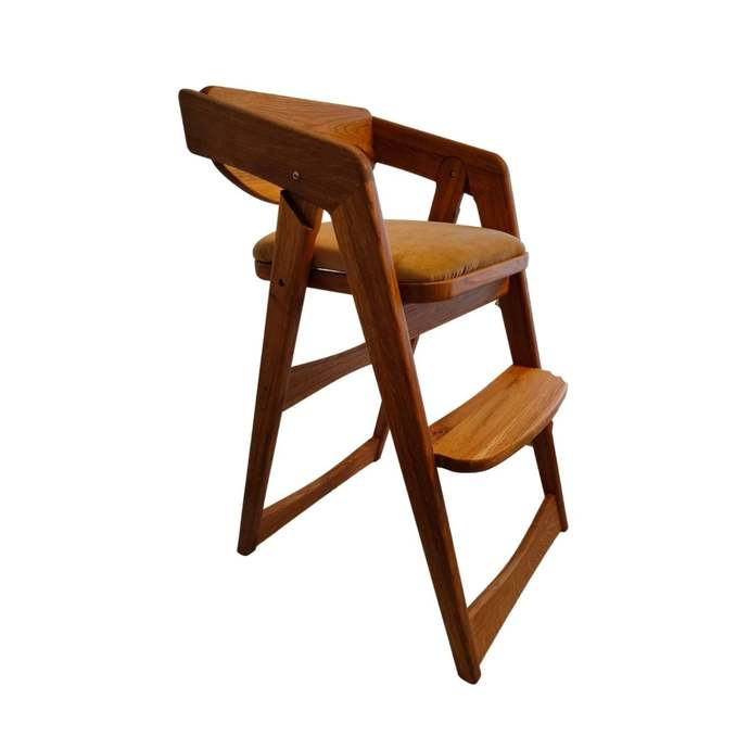 Oak eco highchair with gold upholstered seat for growing baby high folding chair