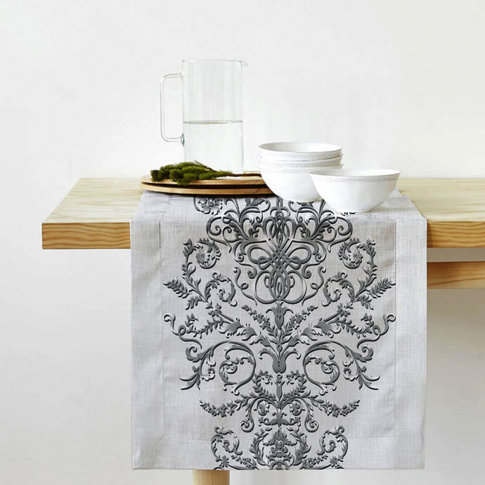 Table Runner Cotton 100% with the effect of 3d embroidery. Grey Print. Table