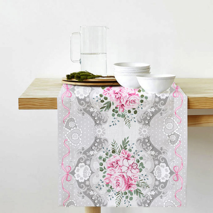 Table Runner Cotton 100% with Pink Flowers Print. Table Linens. Table Linens for