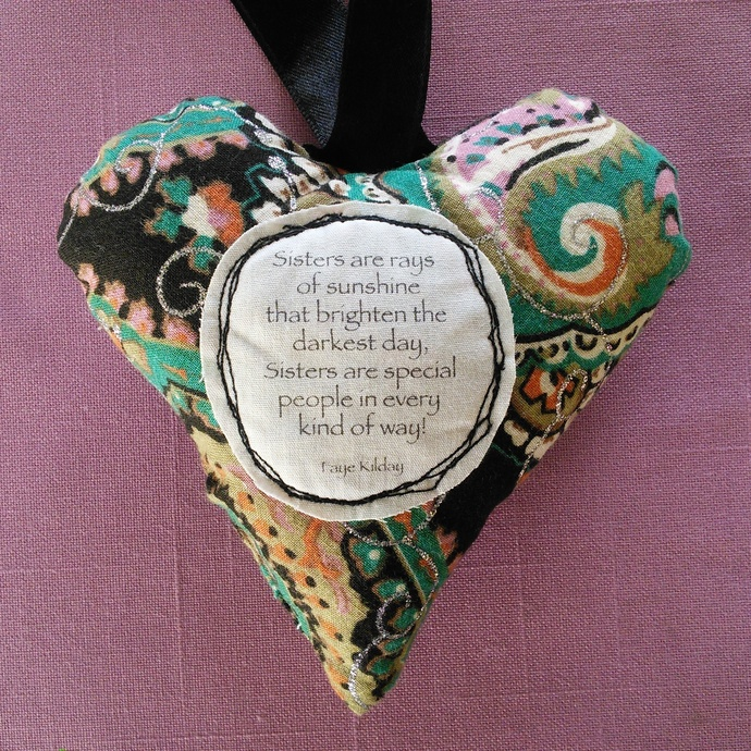 Fabric Poem Heart - Sisters Are Special