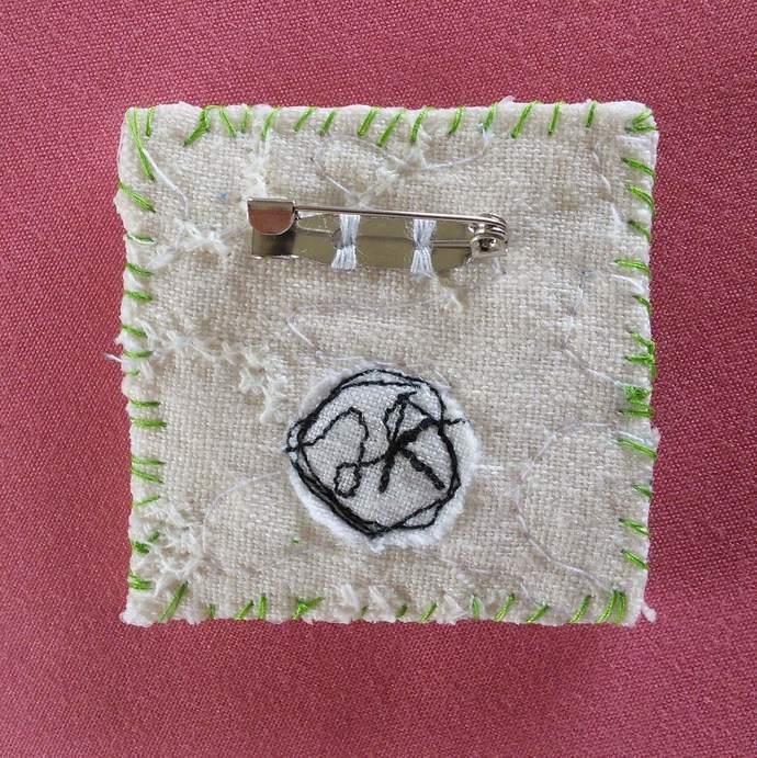 Fabric Art Brooch - Heart
