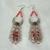Fire Opal Earrings, handmade jewelry crescent moon wiccan pagan wicca goddess