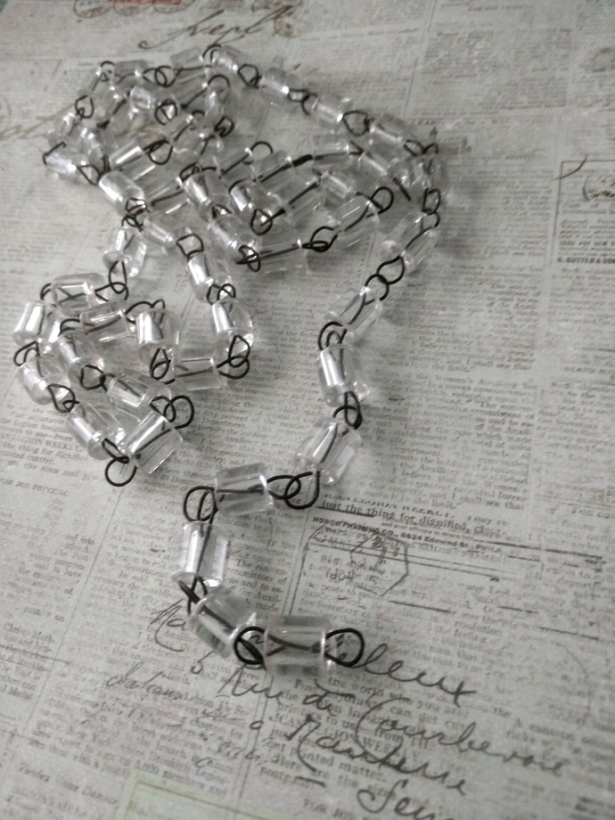 Vintage ItaliaN CleaR Faceted MaCaRoni Tube Glass Beaded Chandelier chain