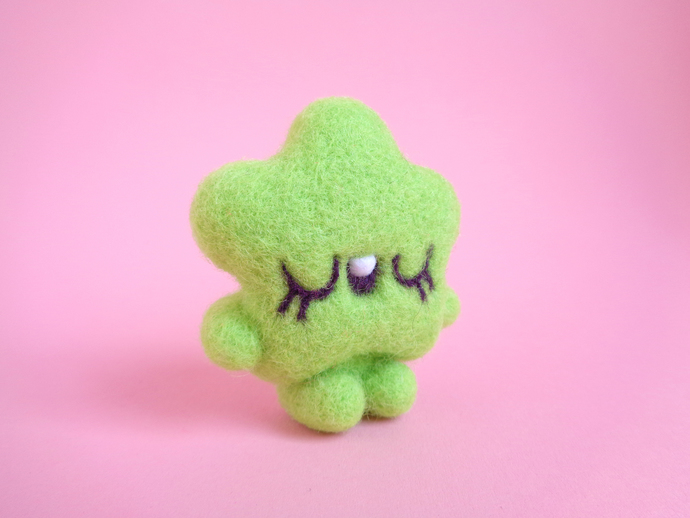 TINY TOY  Lime Star, miniature art toy, needle felted art toy, fiber art toy,