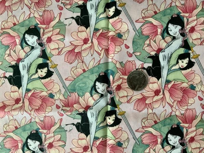 9x21 inch Disney Mulan Remnant Fabric  - ALL SALES FINAL - DESTASH - USA Only