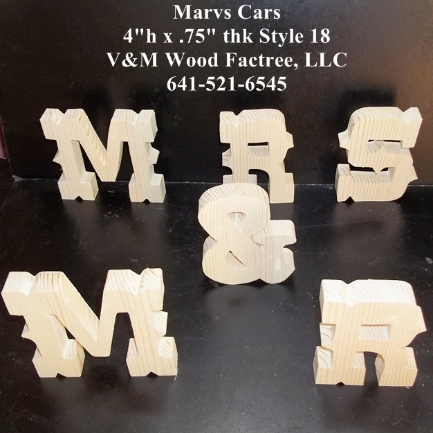 MR & MRS Stand Alone Wood Letters Unfinished Style 18 Stk No. M-18-.75-4-SA