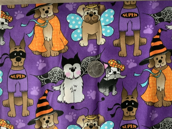 9x21 inch Puppies Remnant Fabric  - ALL SALES FINAL - DESTASH - USA Only