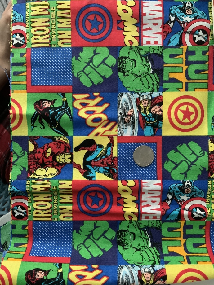 9x21 inch Hulk Remnant Fabric  - ALL SALES FINAL - DESTASH - USA Only