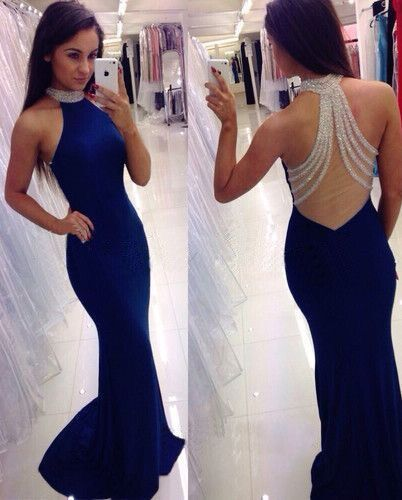 Sexy Sleeveless Royal Blue Mermaid Prom Dresses H5452