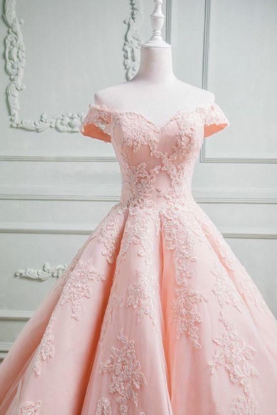 Elegant Pink Off Shoulder Tulle Ball Gown Prom Dresses Formal Gown H5458