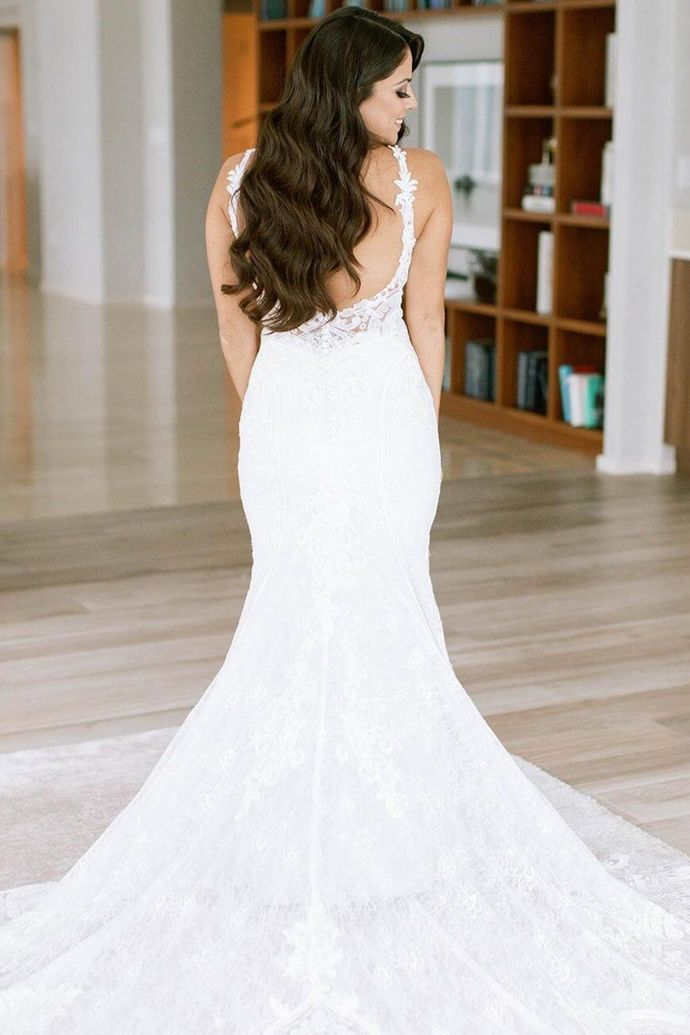 Charming Tulle Lace Mermaid Wedding Dresses Bridal Gown H5459