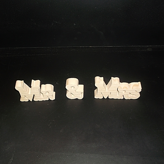 Mr & Mrs Stand Alone Wood Letters Unfinished Style 2 Stk No. M-2-.75-2-LC-SA