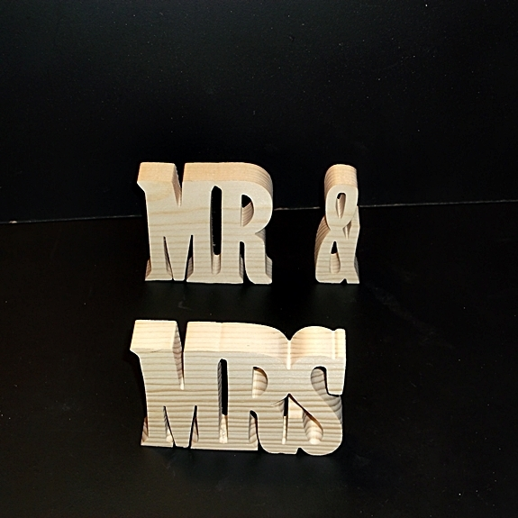 Mr & Mrs Stand Alone Wood Letters Unfinished Style 4 Stk No. M-14-.75-3-UC-SA