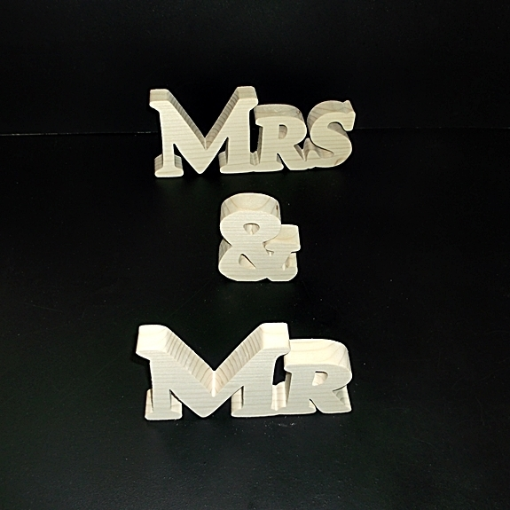 Mr & Mrs Stand Alone Wood Letters Unfinished Style 1 Stk No. M-1-.75-3-LC-SA