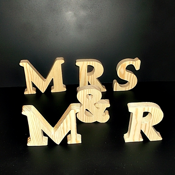 MR & MRS Stand Alone Wood Letters Unfinished Style 1 Stk No. M-1-.75-4-SA