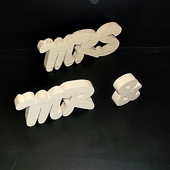 Mr & Mrs Stand Alone Wood Letters Unfinished Style 3 Stk No. M-3-.75-3-UC-SA