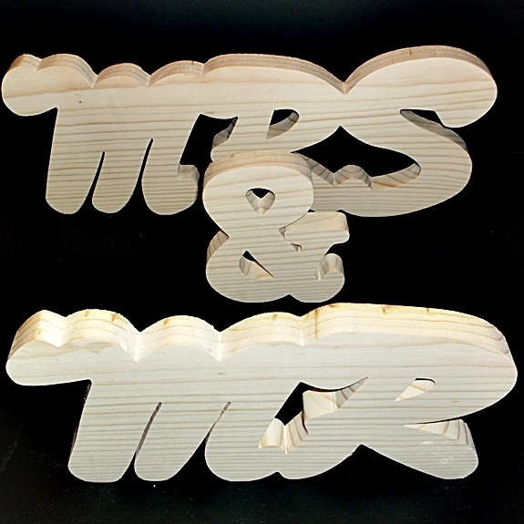 Mr & Mrs Stand Alone Wood Letters Unfinished Style 3 Stk No. M-3-.75-5-UC-SA