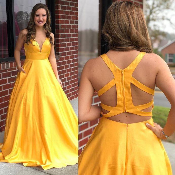 Sexy V-Neck A-line Prom Dresses Long Prom Dresses,Cheap Prom Dresses, Evening