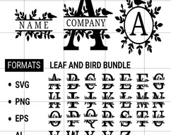ai eps,Cut File for Cricut and Silhouette png Leaf and bird Monogram font svg