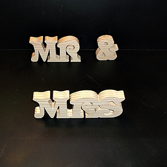 Mr & Mrs  Stand Alone Wood Letters Unfinished Style 4 Stk No. M-4-.75-3-UC-SA