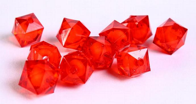 10pc red miracle beads resin lucite acrylic faceted cube beads 12mm (443)